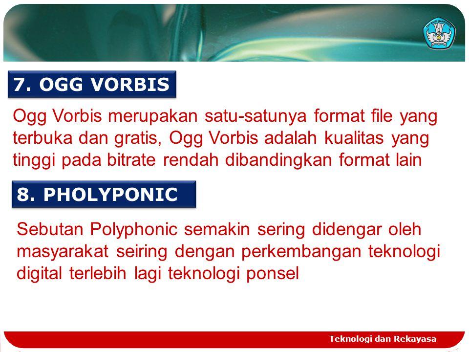 Teknologi dan Rekayasa 7.OGG VORBIS 8.PHOLYPONIC Ogg Vorbis merupakan satu-satunya format file yang terbuka dan gratis, Ogg Vorbis adalah kualitas yang tinggi pada bitrate rendah dibandingkan format lain Sebutan Polyphonic semakin sering didengar oleh masyarakat seiring dengan perkembangan teknologi digital terlebih lagi teknologi ponsel