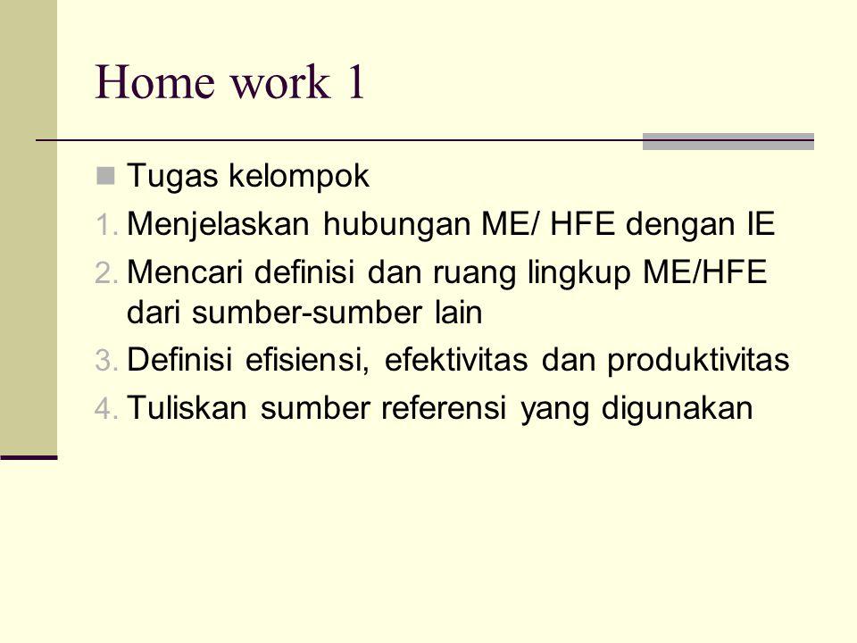 Home work 1 Tugas kelompok 1. Menjelaskan hubungan ME/ HFE dengan IE 2. Mencari definisi dan ruang lingkup ME/HFE dari sumber-sumber lain 3. Definisi
