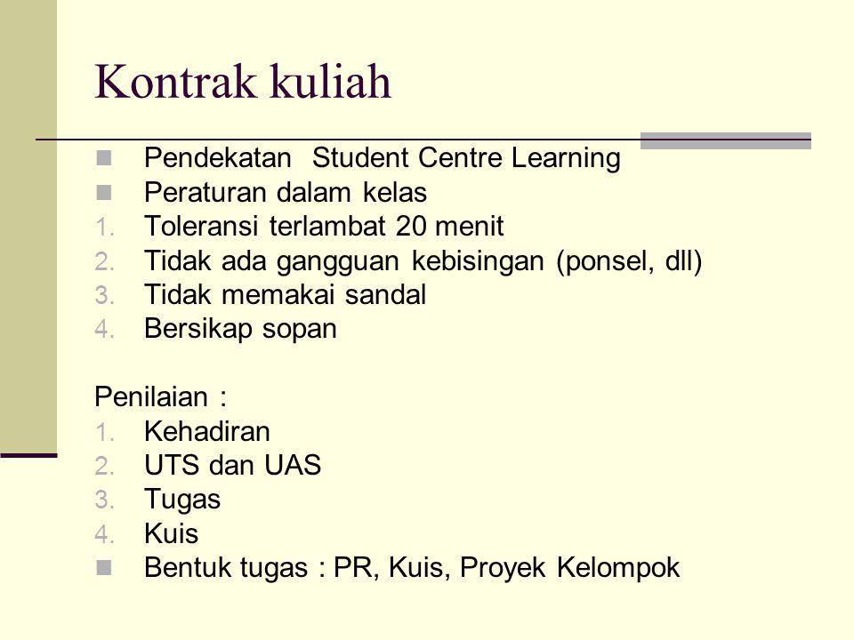 Kontrak kuliah Pendekatan Student Centre Learning Peraturan dalam kelas 1. Toleransi terlambat 20 menit 2. Tidak ada gangguan kebisingan (ponsel, dll)