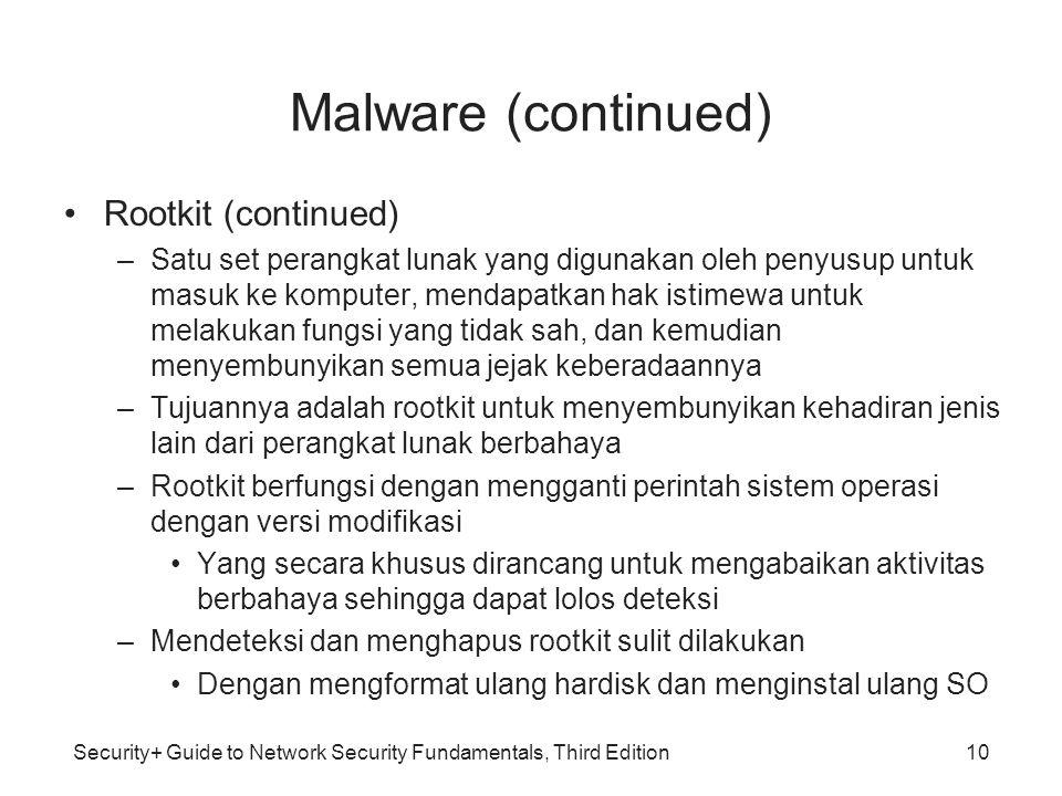 Security+ Guide to Network Security Fundamentals, Third Edition Malware (continued) Rootkit (continued) –Satu set perangkat lunak yang digunakan oleh