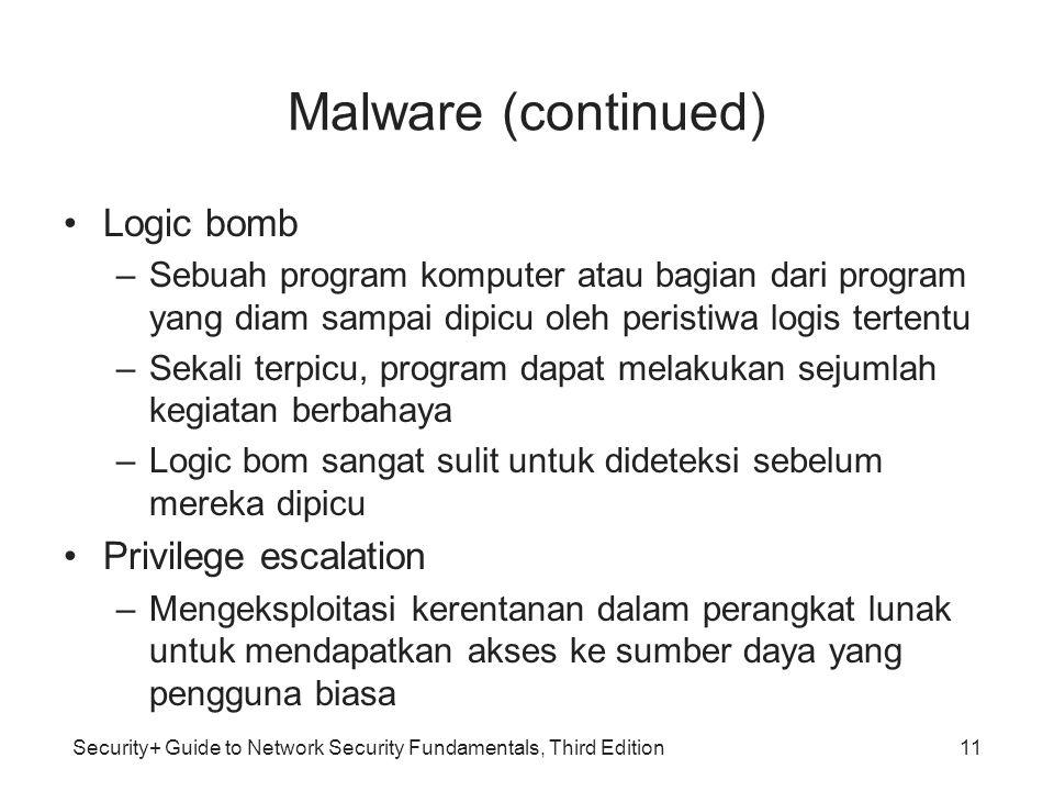 Security+ Guide to Network Security Fundamentals, Third Edition Malware (continued) Logic bomb –Sebuah program komputer atau bagian dari program yang