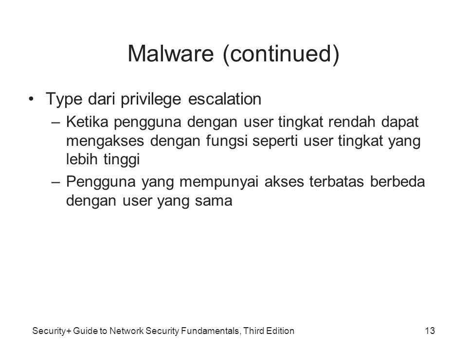 Security+ Guide to Network Security Fundamentals, Third Edition Malware (continued) Type dari privilege escalation –Ketika pengguna dengan user tingka