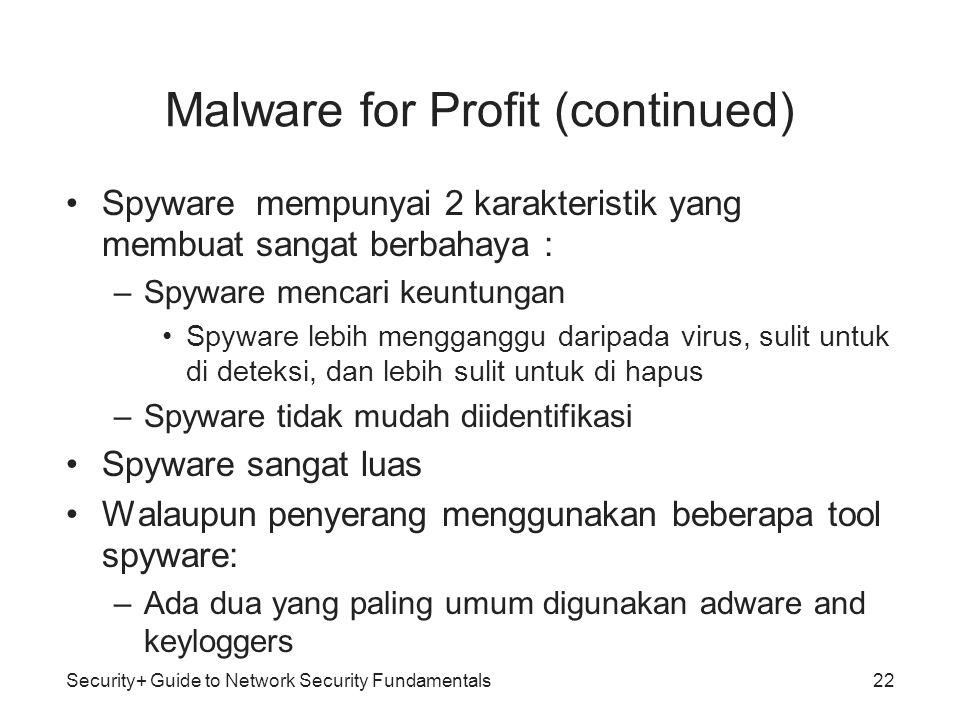 Malware for Profit (continued) Spyware mempunyai 2 karakteristik yang membuat sangat berbahaya : –Spyware mencari keuntungan Spyware lebih mengganggu