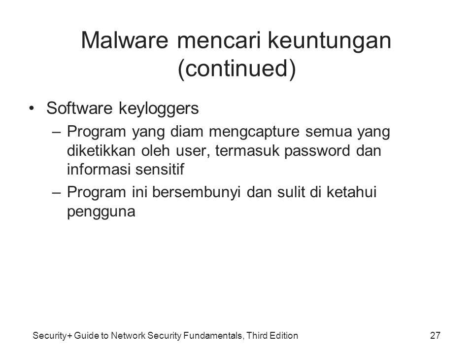 Security+ Guide to Network Security Fundamentals, Third Edition Malware mencari keuntungan (continued) Software keyloggers –Program yang diam mengcapt