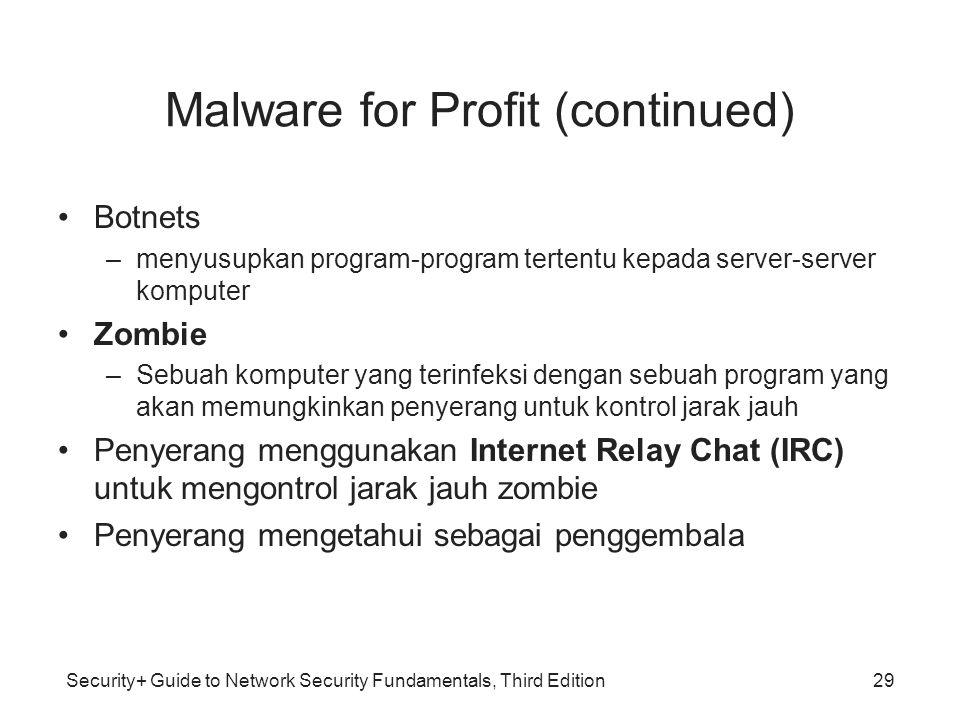 Security+ Guide to Network Security Fundamentals, Third Edition Malware for Profit (continued) Botnets –menyusupkan program-program tertentu kepada se