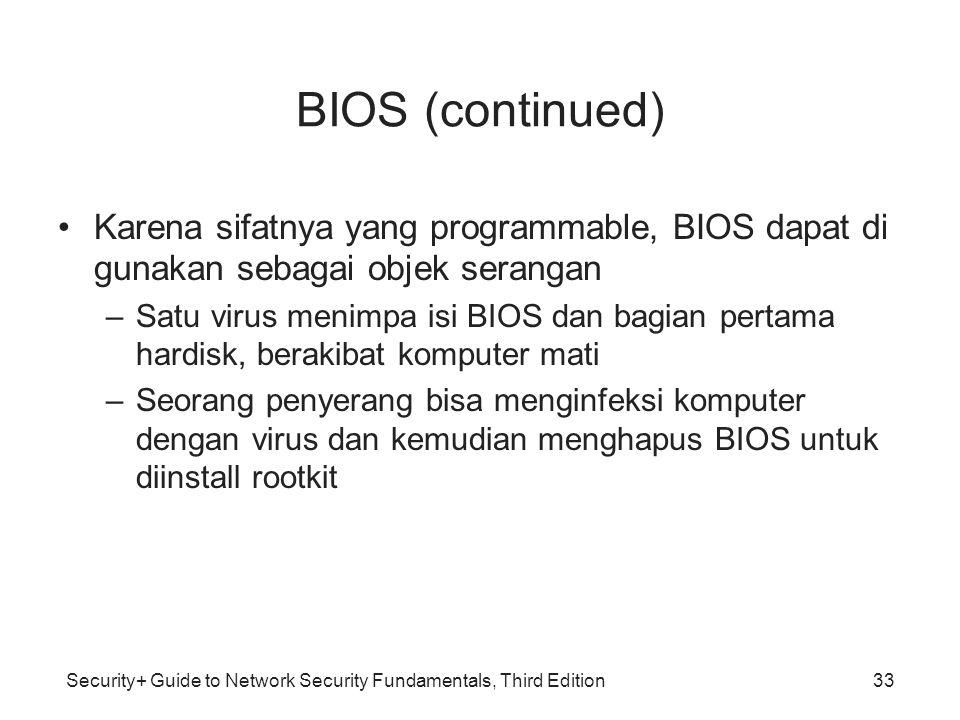 Security+ Guide to Network Security Fundamentals, Third Edition BIOS (continued) Karena sifatnya yang programmable, BIOS dapat di gunakan sebagai obje