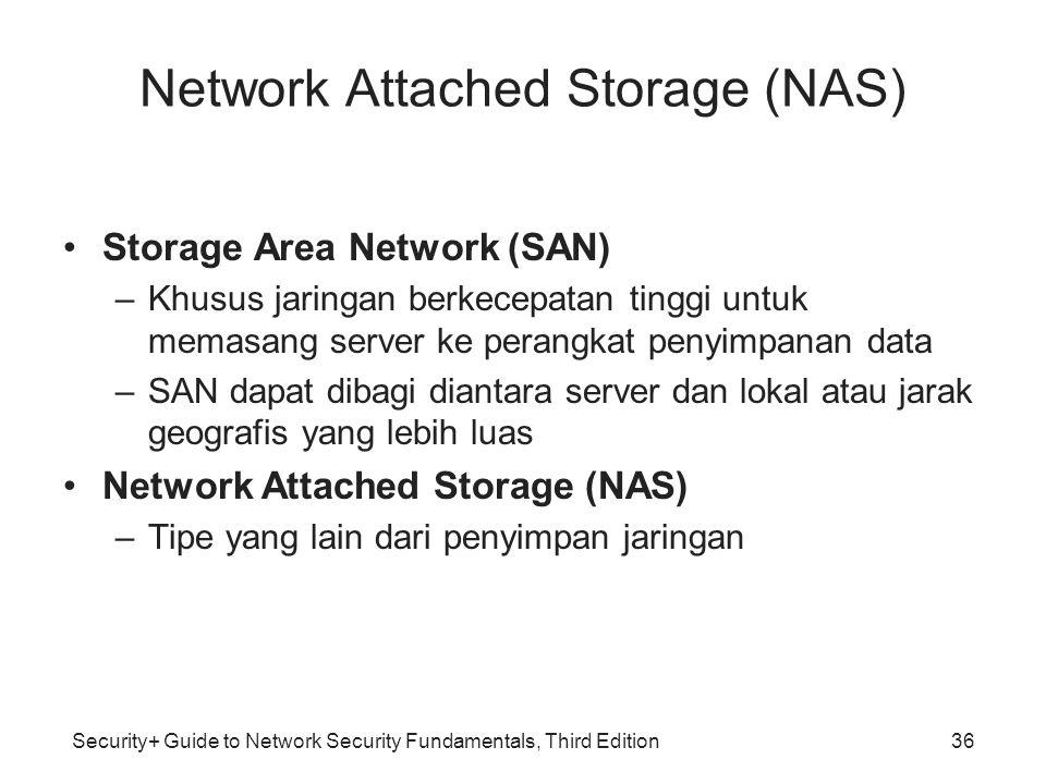 Security+ Guide to Network Security Fundamentals, Third Edition Network Attached Storage (NAS) Storage Area Network (SAN) –Khusus jaringan berkecepata