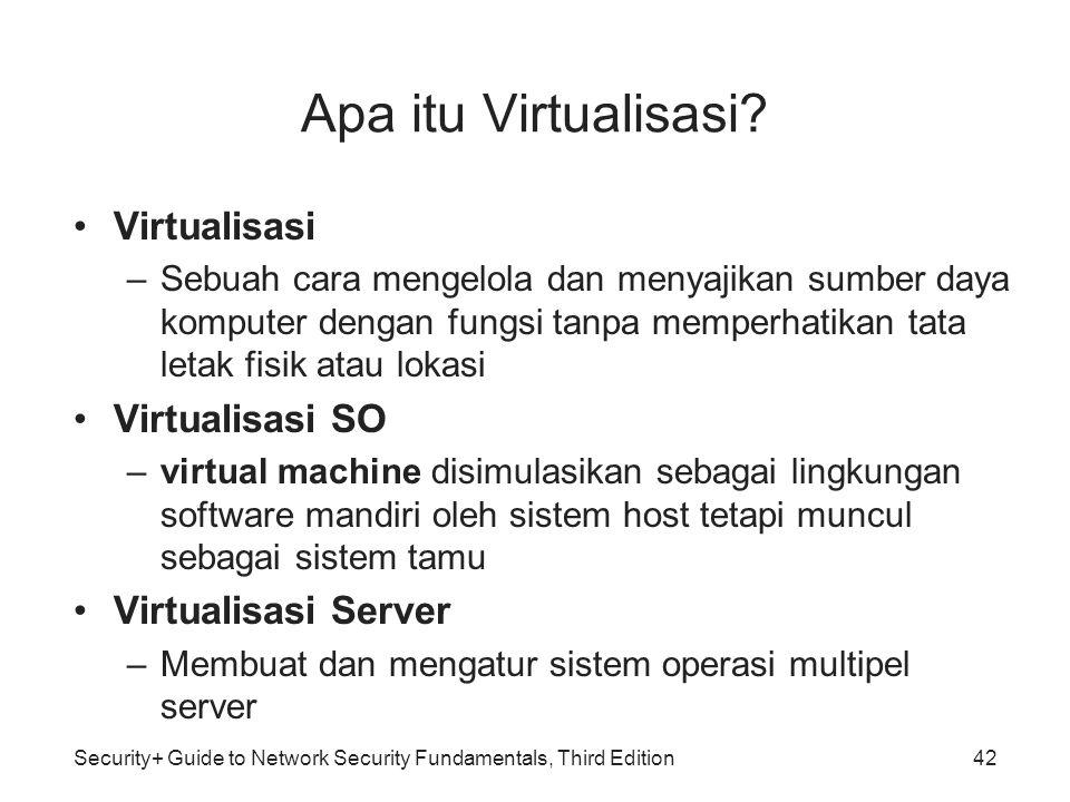 Security+ Guide to Network Security Fundamentals, Third Edition Apa itu Virtualisasi? Virtualisasi –Sebuah cara mengelola dan menyajikan sumber daya k