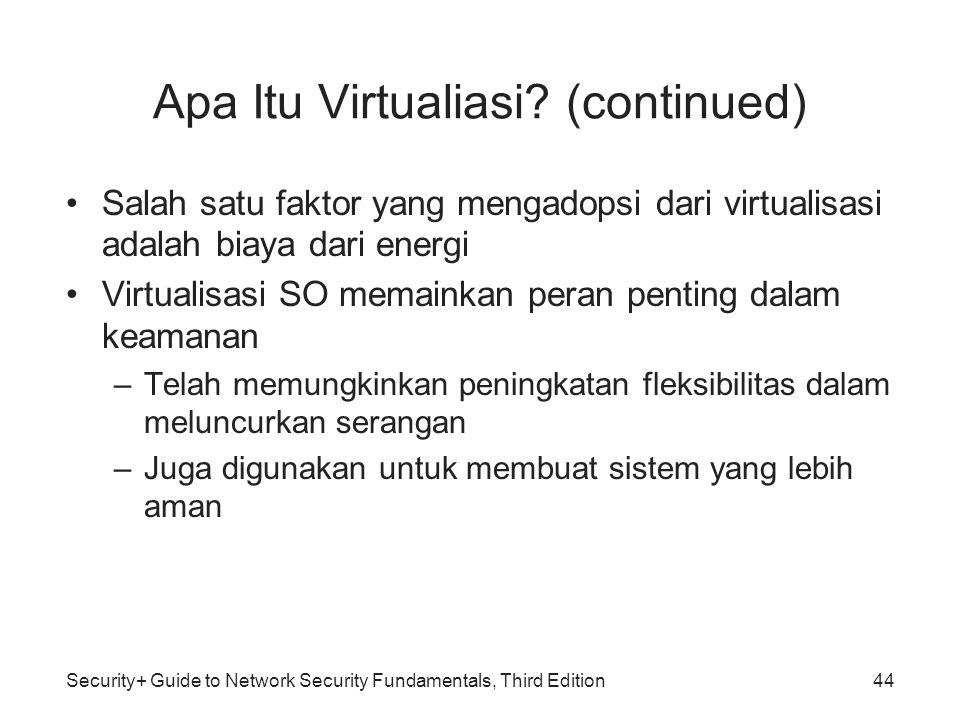 Security+ Guide to Network Security Fundamentals, Third Edition Apa Itu Virtualiasi? (continued) Salah satu faktor yang mengadopsi dari virtualisasi a