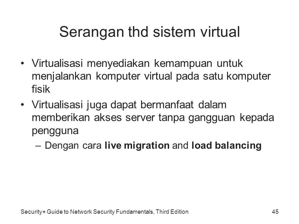 Security+ Guide to Network Security Fundamentals, Third Edition Serangan thd sistem virtual Virtualisasi menyediakan kemampuan untuk menjalankan kompu