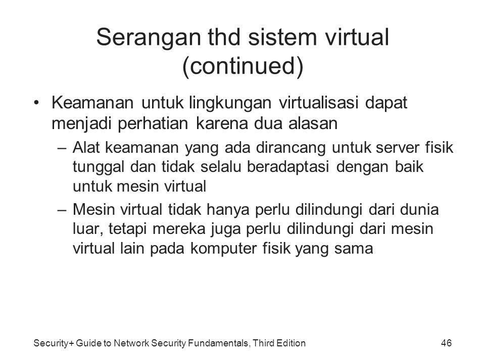 Security+ Guide to Network Security Fundamentals, Third Edition Serangan thd sistem virtual (continued) Keamanan untuk lingkungan virtualisasi dapat m