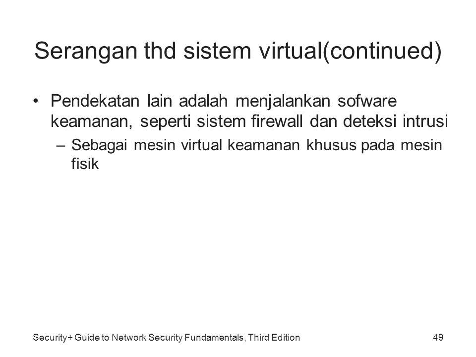 Security+ Guide to Network Security Fundamentals, Third Edition Serangan thd sistem virtual(continued) Pendekatan lain adalah menjalankan sofware keam