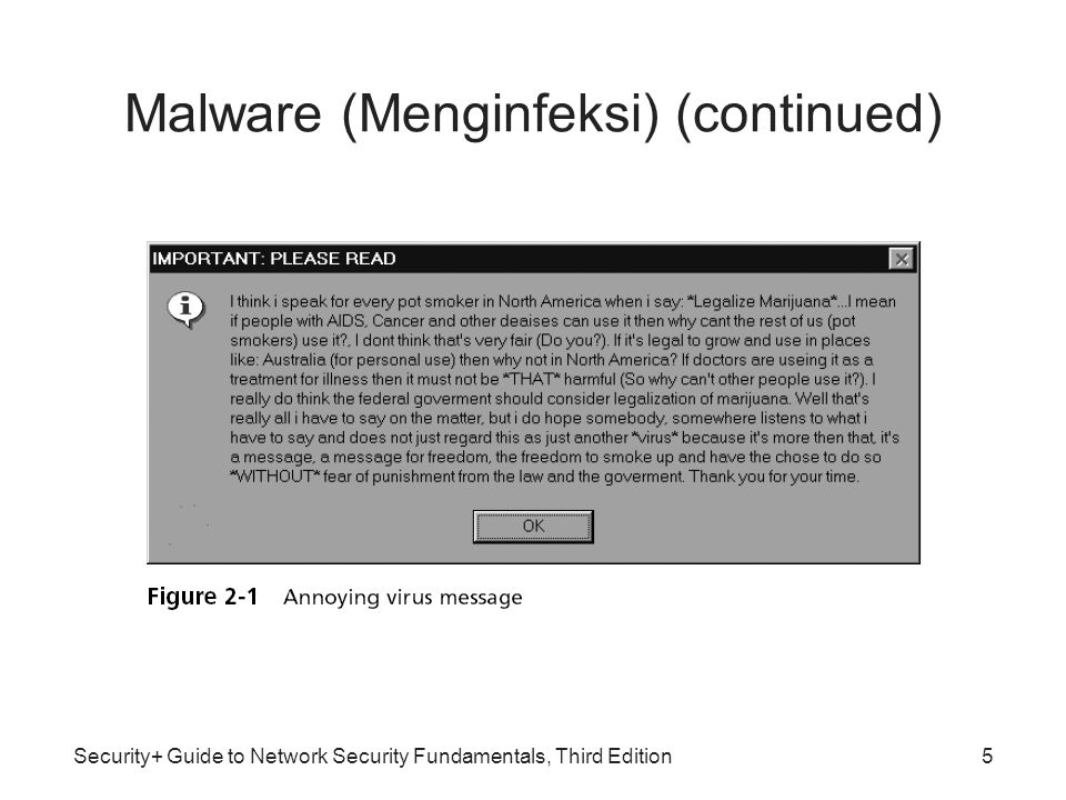 Security+ Guide to Network Security Fundamentals, Third Edition Malware (Menginfeksi) (continued) Jenis-jenis Virus Komputer –File infector virus –Resident virus (menginstall kode berbahaya ke memori) –Boot virus (memakai bagian disk untuk booting) –Companion virus (berpura-pura menggantikan file yang akan diakses pengguna) –Macro virus (di-code-kan sebagai sebuah macro yang melekat pada sebuah dokumen) Metamorphic viruses –Menghindari deteksi dengan mengubah bagaimana mereka muncul Polymorphic viruses –Juga mengenkripsi konten mereka secara berbeda setiap kali 6