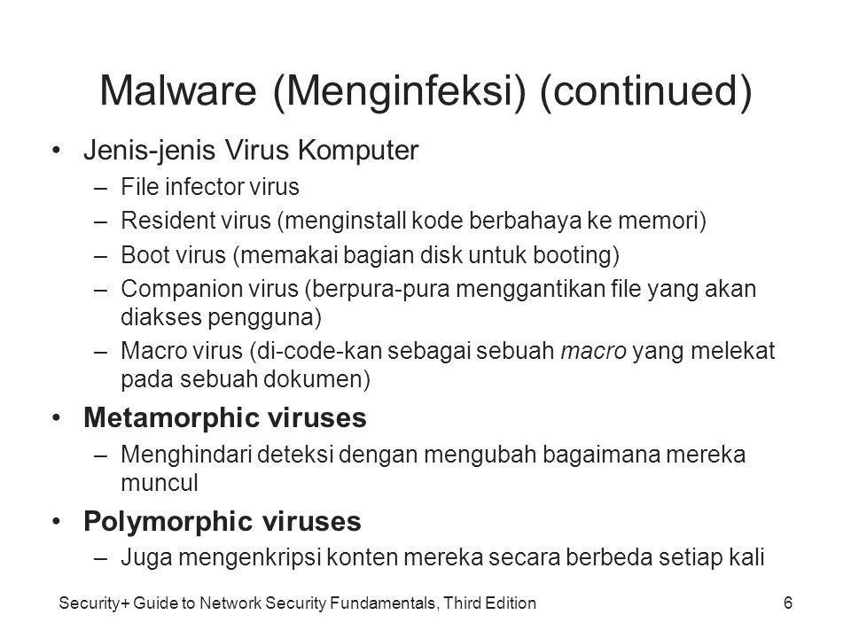Security+ Guide to Network Security Fundamentals, Third Edition Malware mencari keuntungan (continued) Software keyloggers –Program yang diam mengcapture semua yang diketikkan oleh user, termasuk password dan informasi sensitif –Program ini bersembunyi dan sulit di ketahui pengguna 27
