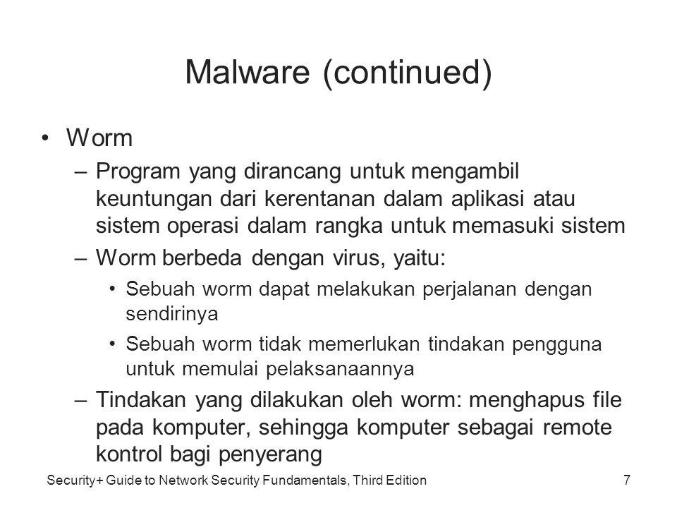 Security+ Guide to Network Security Fundamentals, Third Edition Malware Trojan Horse (kuda Troya) /(Trojan) –Perangkat lunak yang mencurigakan (malicious) yang dapat merusak sebuah sistem atau jaringan.