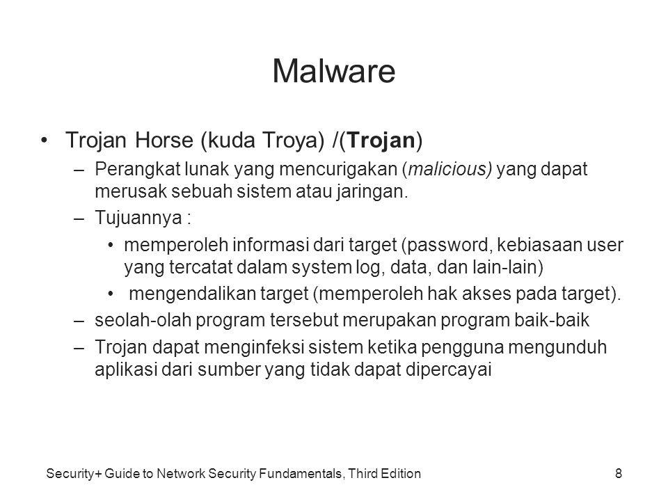 Security+ Guide to Network Security Fundamentals, Third Edition Malware Contoh Jenis-jenis Trojan –Pencuri password: –Pencatat penekanan tombol (keystroke logger/keylogger): Jenis Trojan ini akan memantau semua yang diketikkan oleh pengguna dan akan mengirimkannya kepada penyerang –Tool administrasi jarak jauh (Remote Administration Tools/RAT): Jenis Trojan ini mengizinkan para penyerang untuk mengambil alih kontrol 9