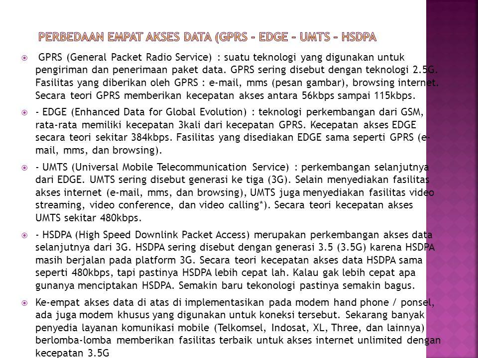  GPRS (General Packet Radio Service) : suatu teknologi yang digunakan untuk pengiriman dan penerimaan paket data. GPRS sering disebut dengan teknolog