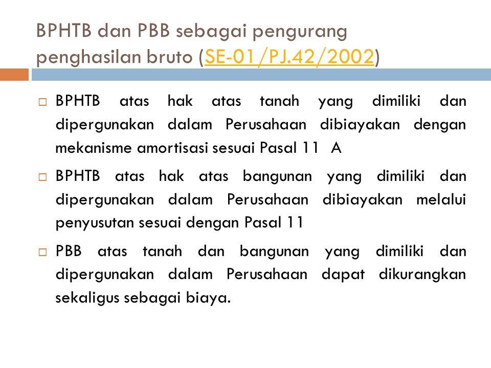 Pengeluaran untuk pajak daerah dan retribusi daerah ( SE-02/PJ.42/2002)SE-02/PJ.42/2002  Memenuhi ketentuan Undang-Undang Nomor 18 Tahun 1997 s.t.d.d