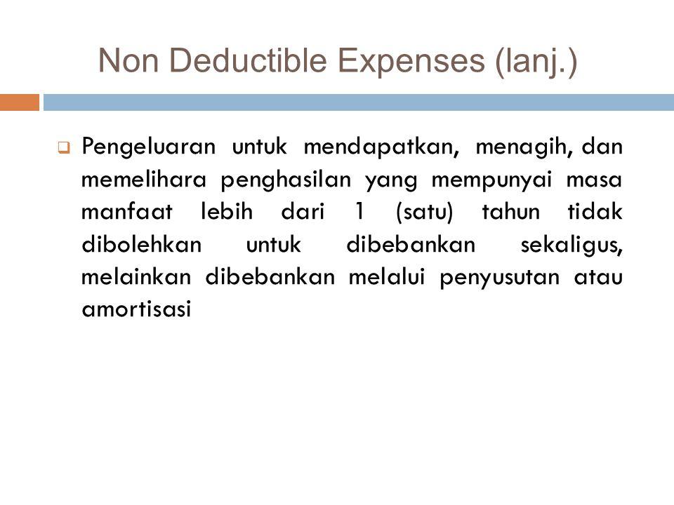  Pajak Penghasilan;  Biaya yang dibebankan atau dikeluarkan untuk kepentingan pribadi Wajib Pajak atau orang yang menjadi tanggungannya;  Gaji yang