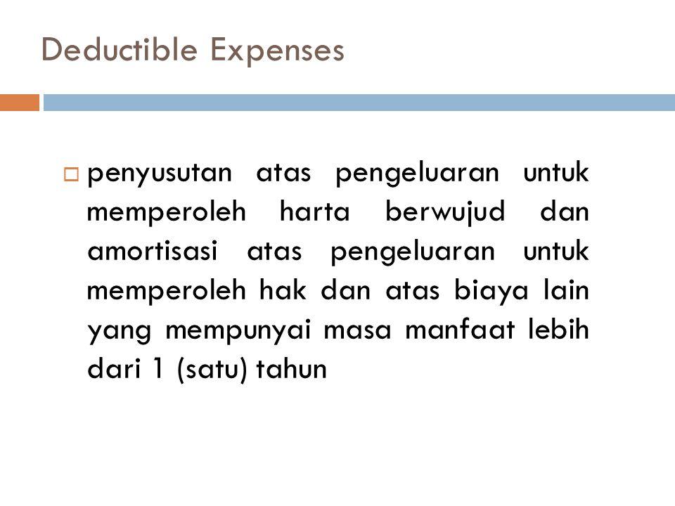 Deductible Expenses  penyusutan atas pengeluaran untuk memperoleh harta berwujud dan amortisasi atas pengeluaran untuk memperoleh hak dan atas biaya lain yang mempunyai masa manfaat lebih dari 1 (satu) tahun