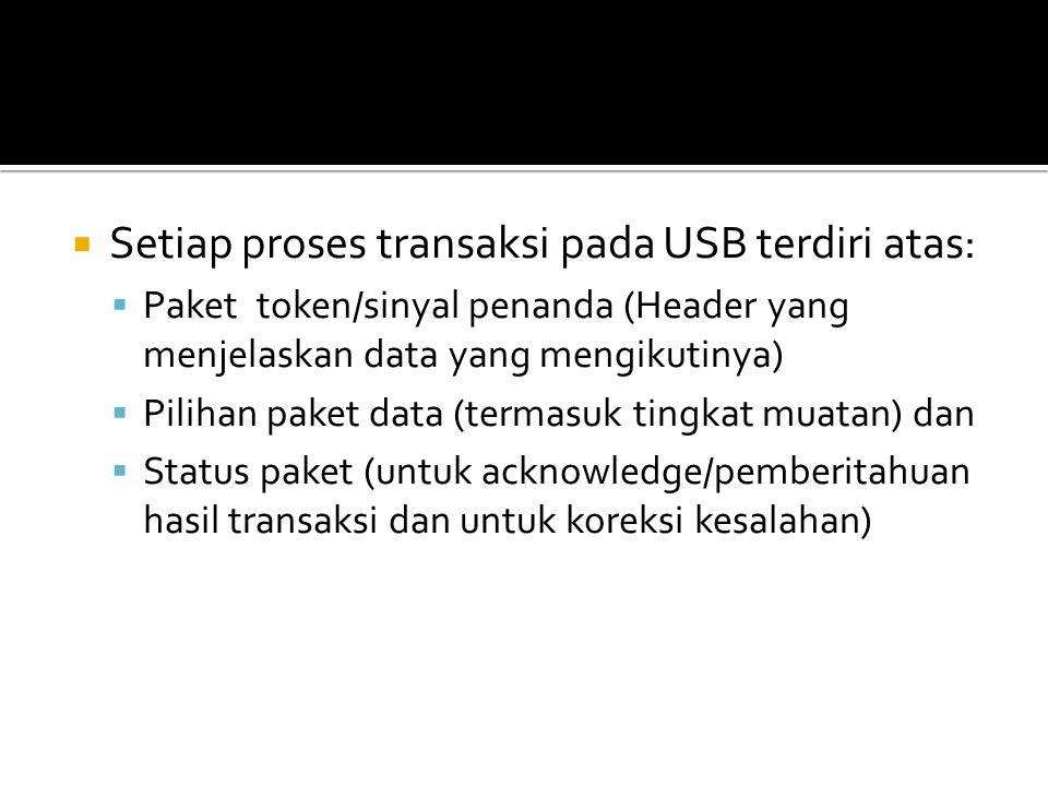  Setiap proses transaksi pada USB terdiri atas:  Paket token/sinyal penanda (Header yang menjelaskan data yang mengikutinya)  Pilihan paket data (t
