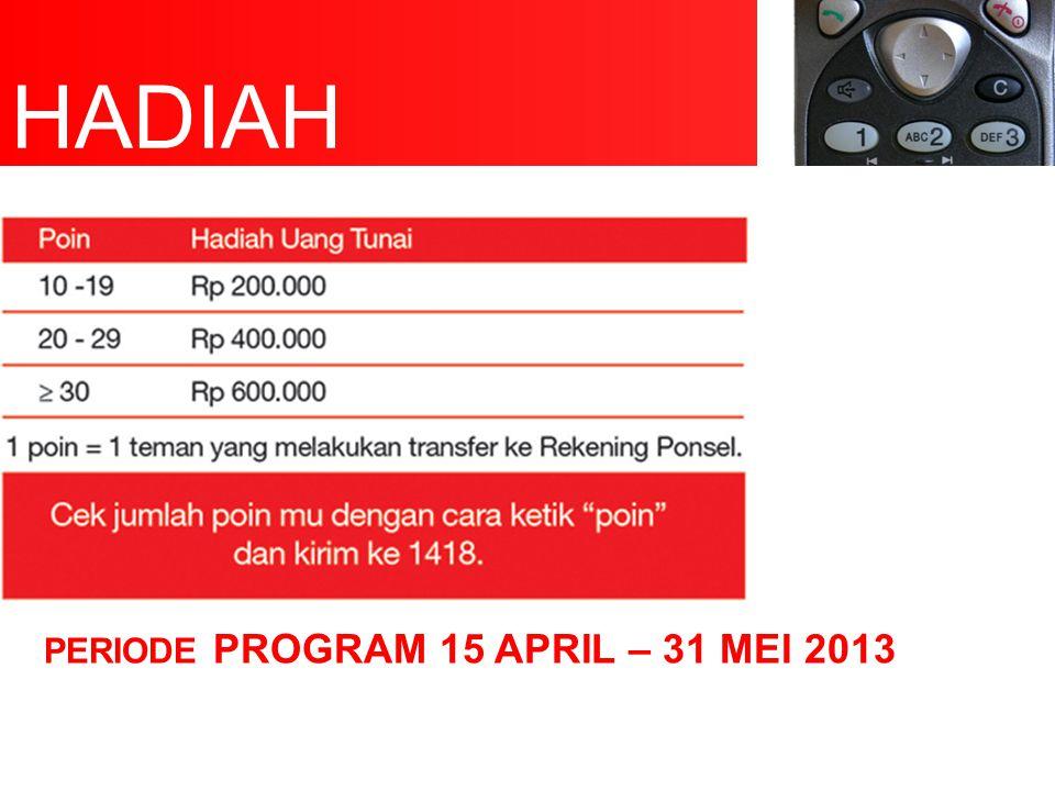 PERIODE PROGRAM 15 APRIL – 31 MEI 2013 HADIAH