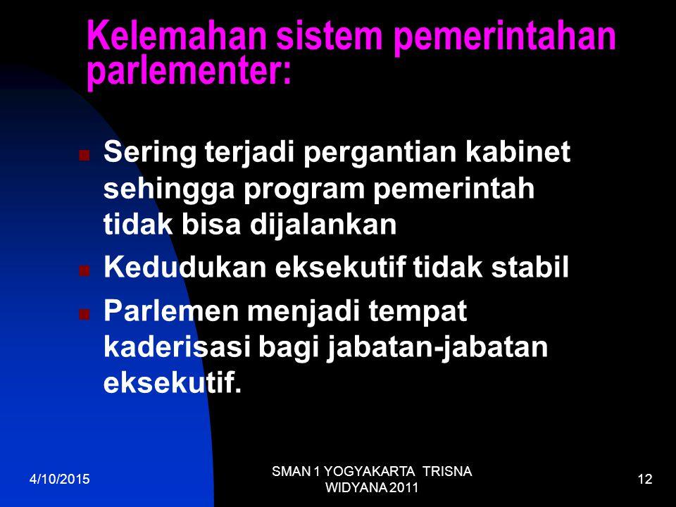 Kelemahan sistem pemerintahan parlementer: Sering terjadi pergantian kabinet sehingga program pemerintah tidak bisa dijalankan Kedudukan eksekutif tidak stabil Parlemen menjadi tempat kaderisasi bagi jabatan-jabatan eksekutif.