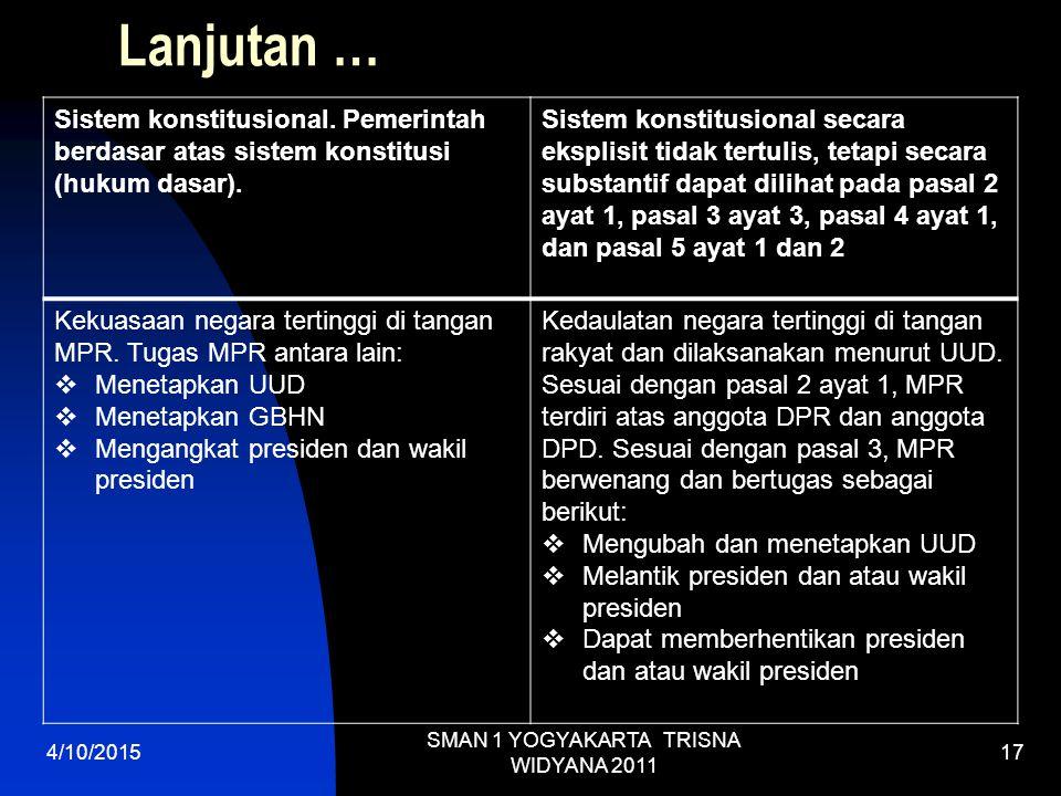 Lanjutan … Sistem konstitusional.Pemerintah berdasar atas sistem konstitusi (hukum dasar).