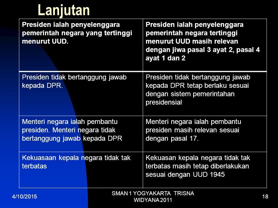 Lanjutan Presiden ialah penyelenggara pemerintah negara yang tertinggi menurut UUD.
