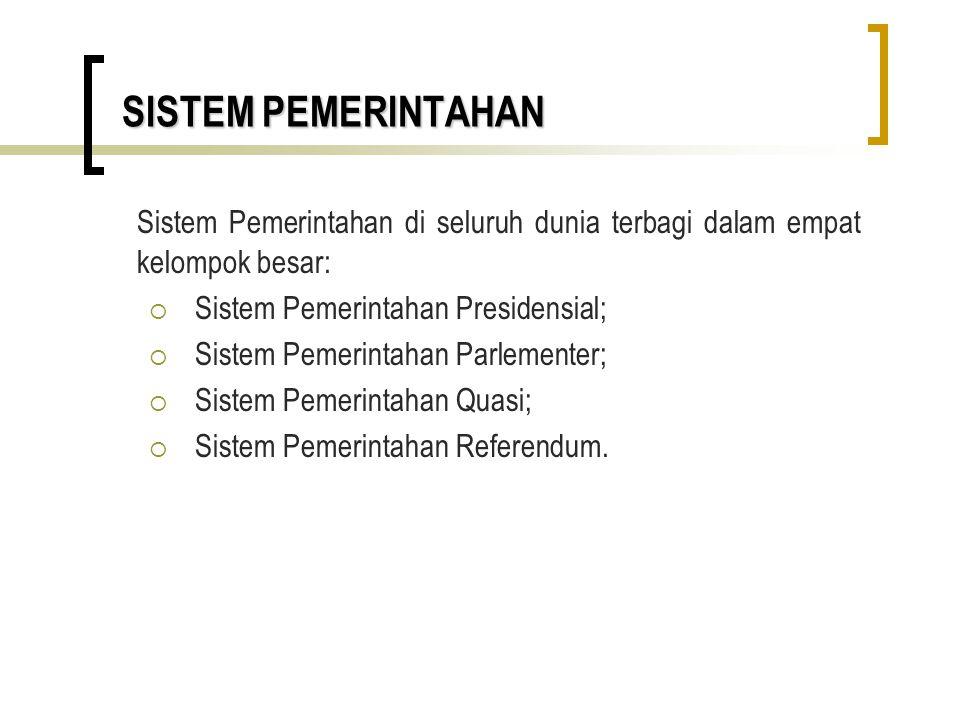 Sistem Pemerintahan di seluruh dunia terbagi dalam empat kelompok besar:  Sistem Pemerintahan Presidensial;  Sistem Pemerintahan Parlementer;  Sist