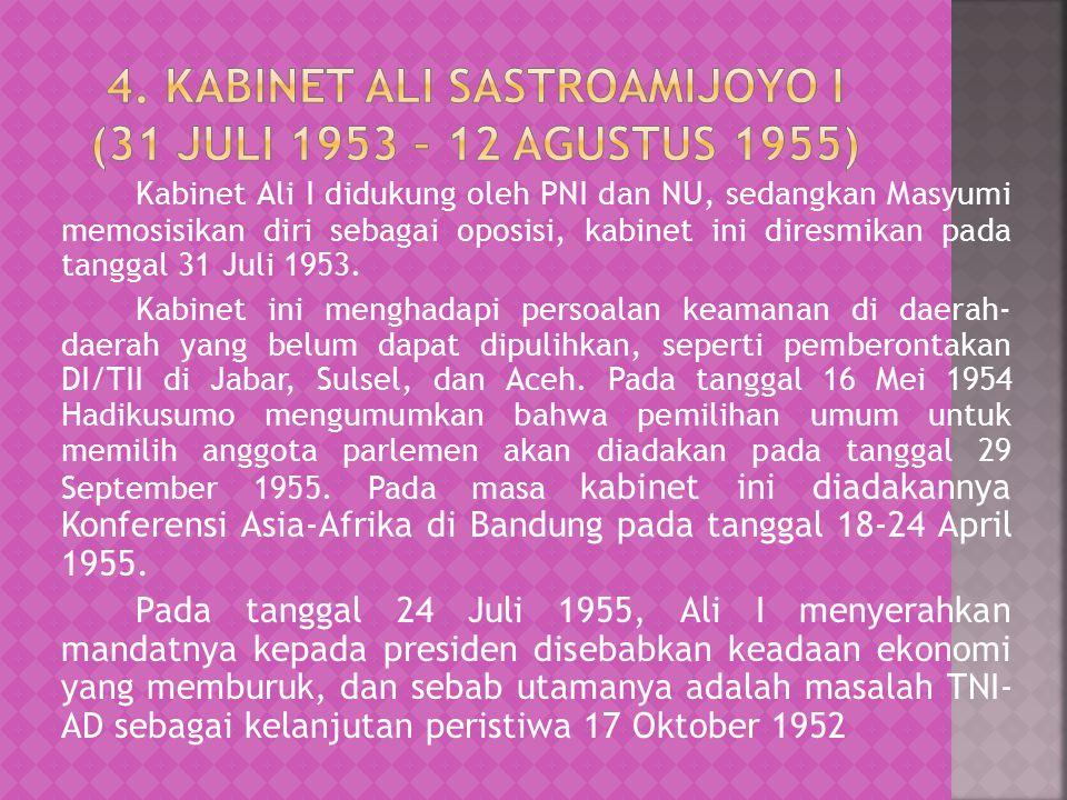 Kabinet Ali I didukung oleh PNI dan NU, sedangkan Masyumi memosisikan diri sebagai oposisi, kabinet ini diresmikan pada tanggal 31 Juli 1953.