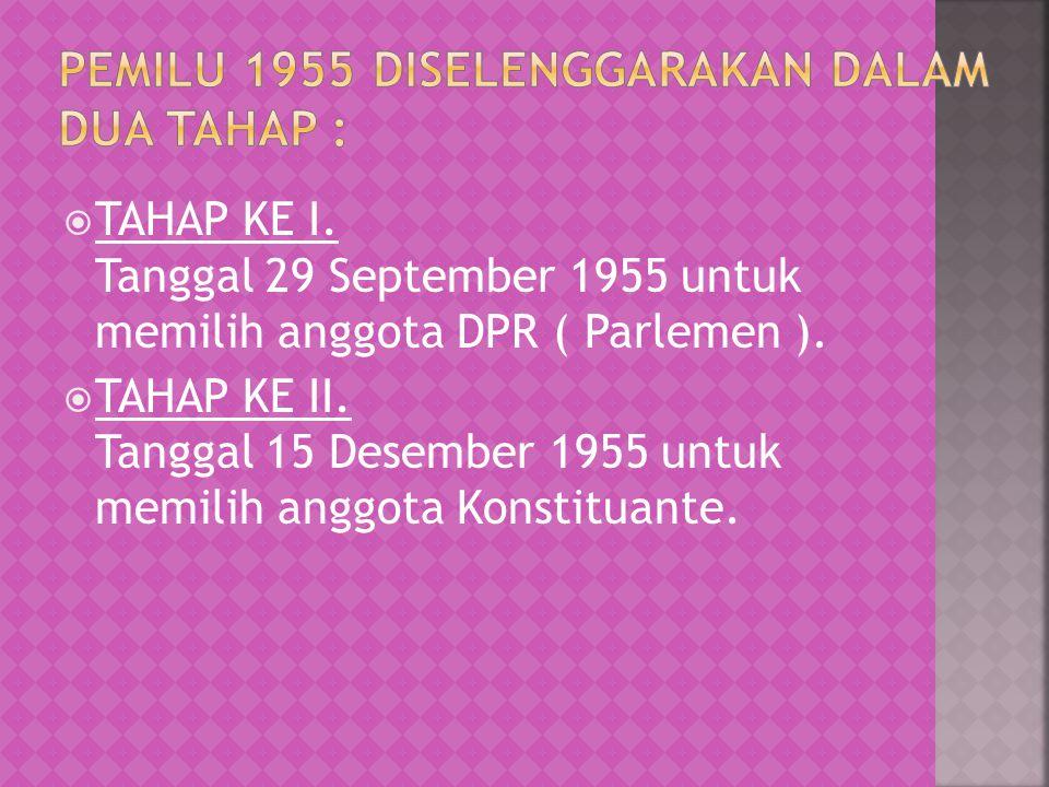  TAHAP KE I. Tanggal 29 September 1955 untuk memilih anggota DPR ( Parlemen ).  TAHAP KE II. Tanggal 15 Desember 1955 untuk memilih anggota Konstitu