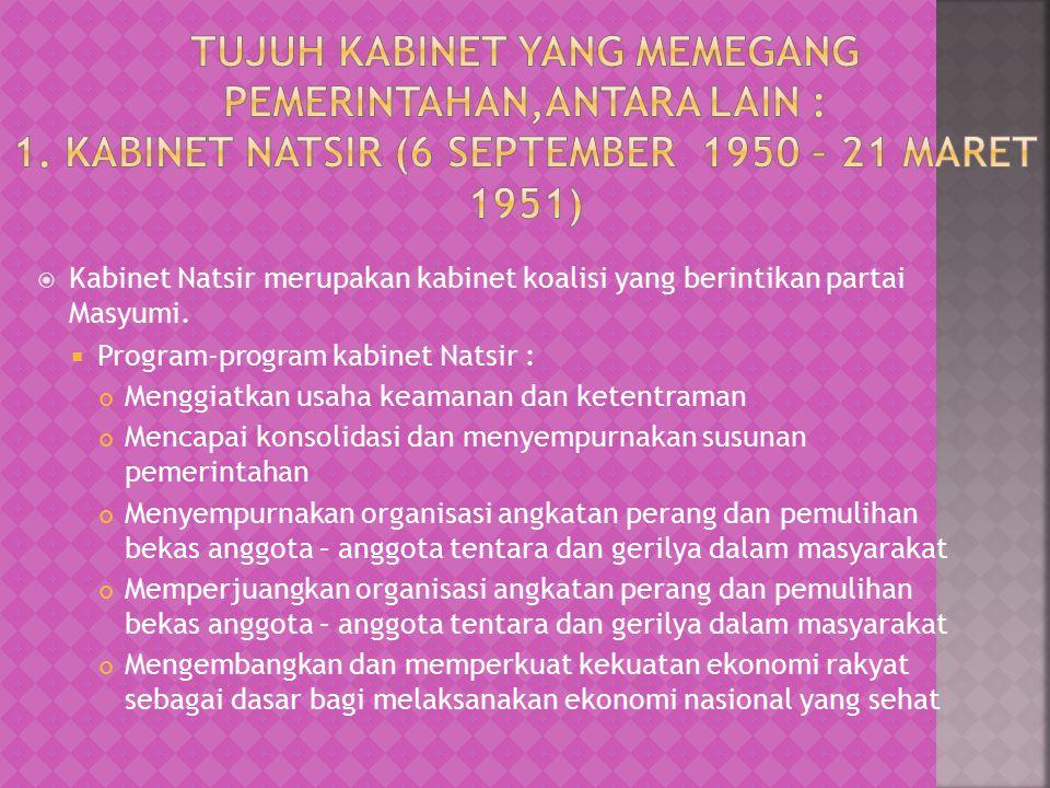  Kabinet Natsir merupakan kabinet koalisi yang berintikan partai Masyumi.  Program-program kabinet Natsir : Menggiatkan usaha keamanan dan ketentram