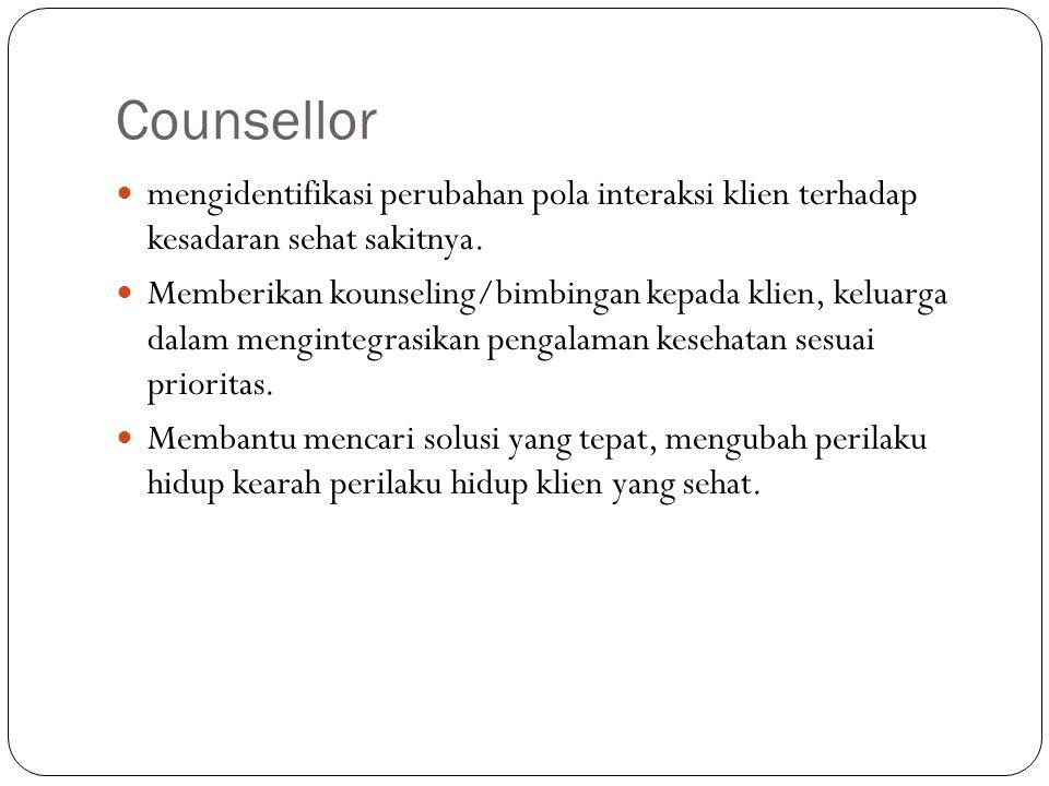 Counsellor mengidentifikasi perubahan pola interaksi klien terhadap kesadaran sehat sakitnya. Memberikan kounseling/bimbingan kepada klien, keluarga d
