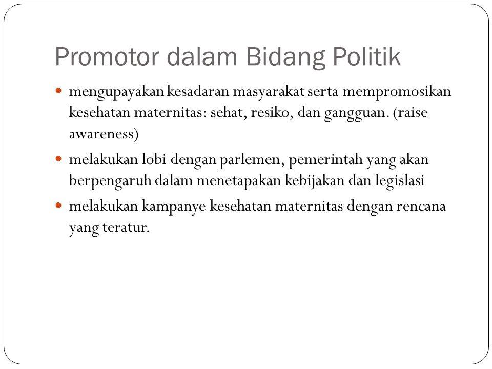 Promotor dalam Bidang Politik mengupayakan kesadaran masyarakat serta mempromosikan kesehatan maternitas: sehat, resiko, dan gangguan.