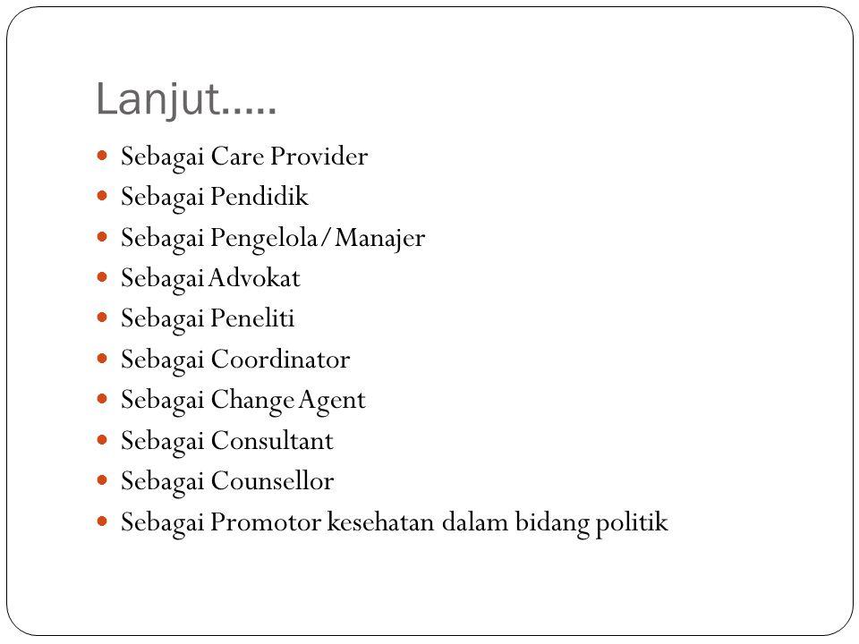 Lanjut….. Sebagai Care Provider Sebagai Pendidik Sebagai Pengelola/Manajer Sebagai Advokat Sebagai Peneliti Sebagai Coordinator Sebagai Change Agent S