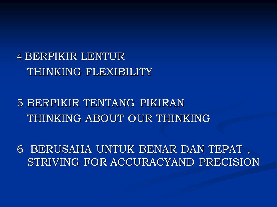 4 BERPIKIR LENTUR THINKING FLEXIBILITY THINKING FLEXIBILITY 5 BERPIKIR TENTANG PIKIRAN THINKING ABOUT OUR THINKING THINKING ABOUT OUR THINKING 6 BERUS