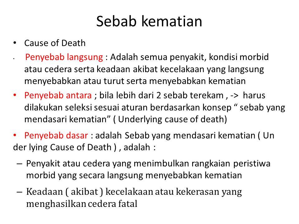 Sebab kematian Cause of Death Penyebab langsung : Adalah semua penyakit, kondisi morbid atau cedera serta keadaan akibat kecelakaan yang langsung meny