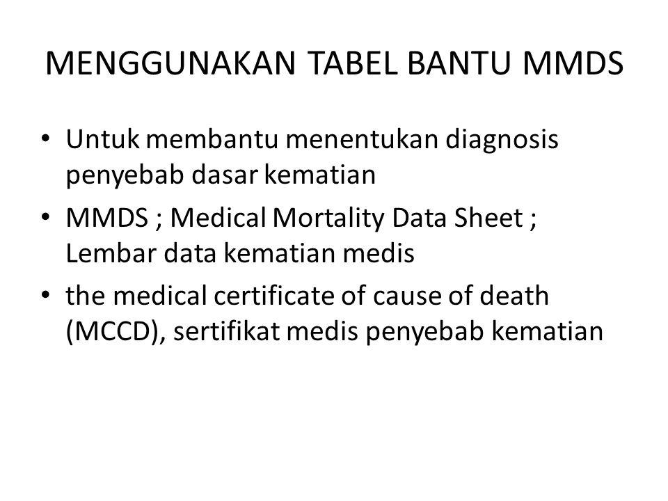 MENGGUNAKAN TABEL BANTU MMDS Untuk membantu menentukan diagnosis penyebab dasar kematian MMDS ; Medical Mortality Data Sheet ; Lembar data kematian medis the medical certificate of cause of death (MCCD), sertifikat medis penyebab kematian