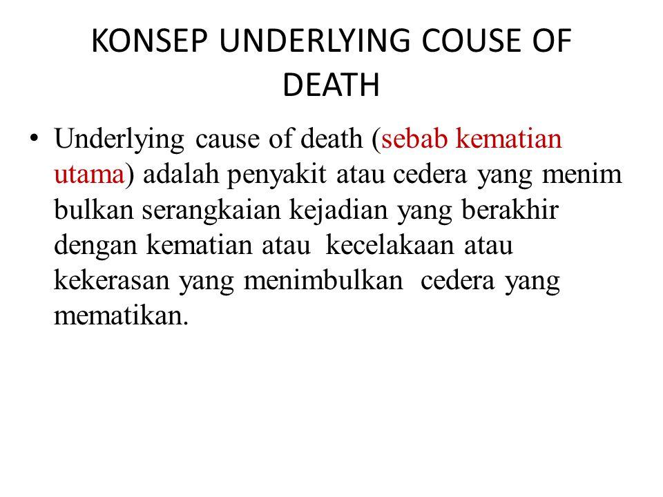 KONSEP UNDERLYING COUSE OF DEATH Underlying cause of death (sebab kematian utama) adalah penyakit atau cedera yang menim bulkan serangkaian kejadian yang berakhir dengan kematian atau kecelakaan atau kekerasan yang menimbulkan cedera yang mematikan.