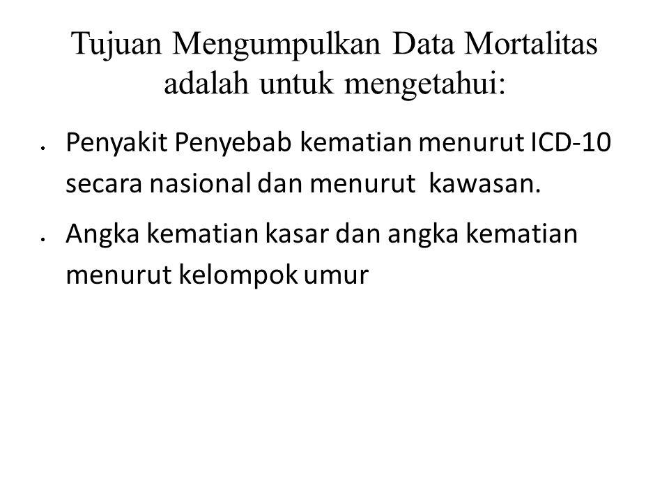 Tujuan Mengumpulkan Data Mortalitas adalah untuk mengetahui:  Penyakit Penyebab kematian menurut ICD-10 secara nasional dan menurut kawasan.  Angka