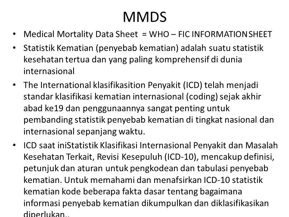 MMDS Medical Mortality Data Sheet = WHO – FIC INFORMATION SHEET Statistik Kematian (penyebab kematian) adalah suatu statistik kesehatan tertua dan yan