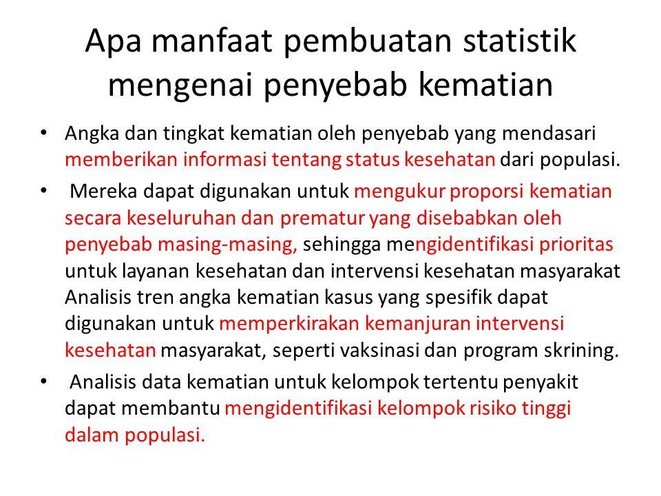 Apa manfaat pembuatan statistik mengenai penyebab kematian Angka dan tingkat kematian oleh penyebab yang mendasari memberikan informasi tentang status kesehatan dari populasi.