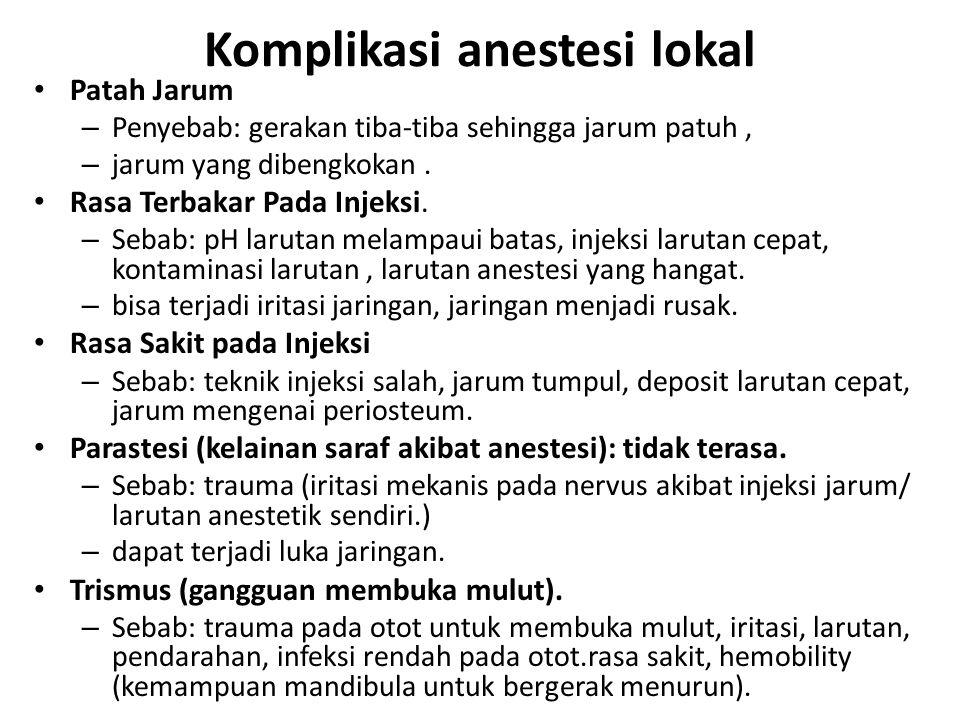 Komplikasi anestesi lokal Patah Jarum – Penyebab: gerakan tiba-tiba sehingga jarum patuh, – jarum yang dibengkokan. Rasa Terbakar Pada Injeksi. – Seba