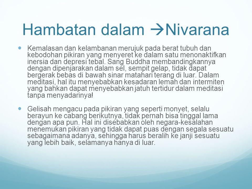 Hambatan dalam  Nivarana Kemalasan dan kelambanan merujuk pada berat tubuh dan kebodohan pikiran yang menyeret ke dalam satu menonaktifkan inersia da