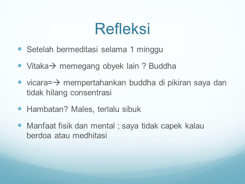Refleksi Setelah bermeditasi selama 1 minggu Vitaka  memegang obyek lain ? Buddha vicara=  mempertahankan buddha di pikiran saya dan tidak hilang co