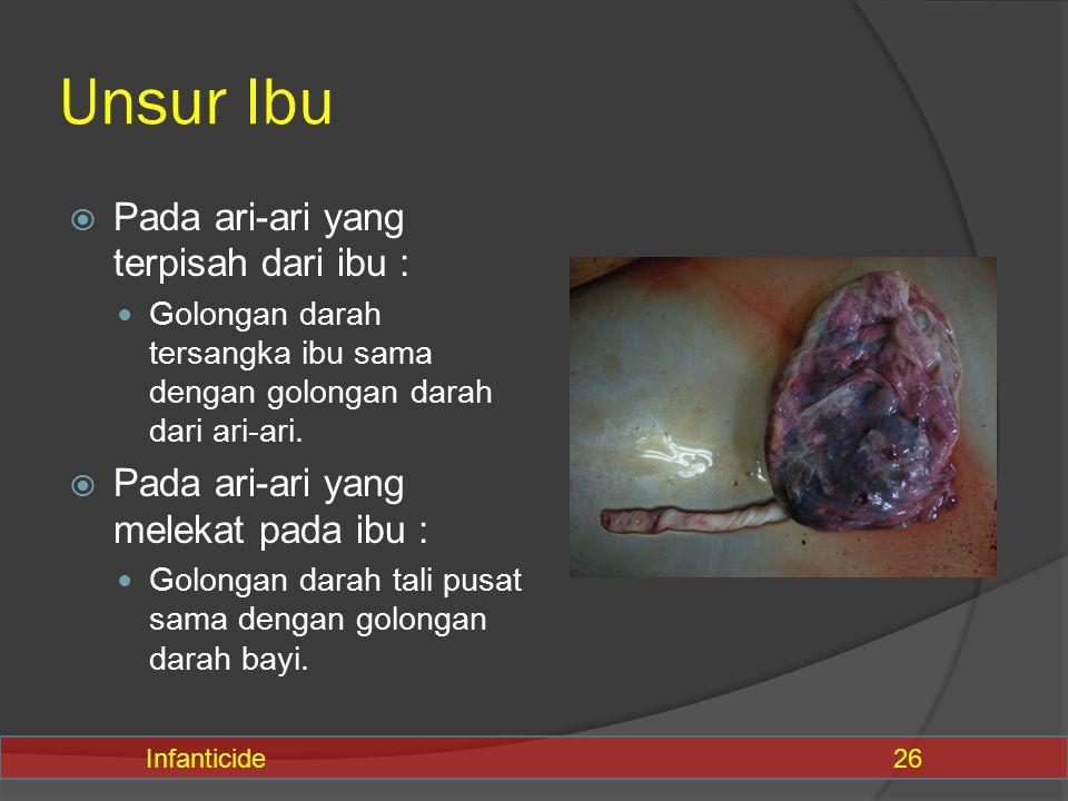Unsur Ibu  Pada ari-ari yang terpisah dari ibu : Golongan darah tersangka ibu sama dengan golongan darah dari ari-ari.  Pada ari-ari yang melekat pa