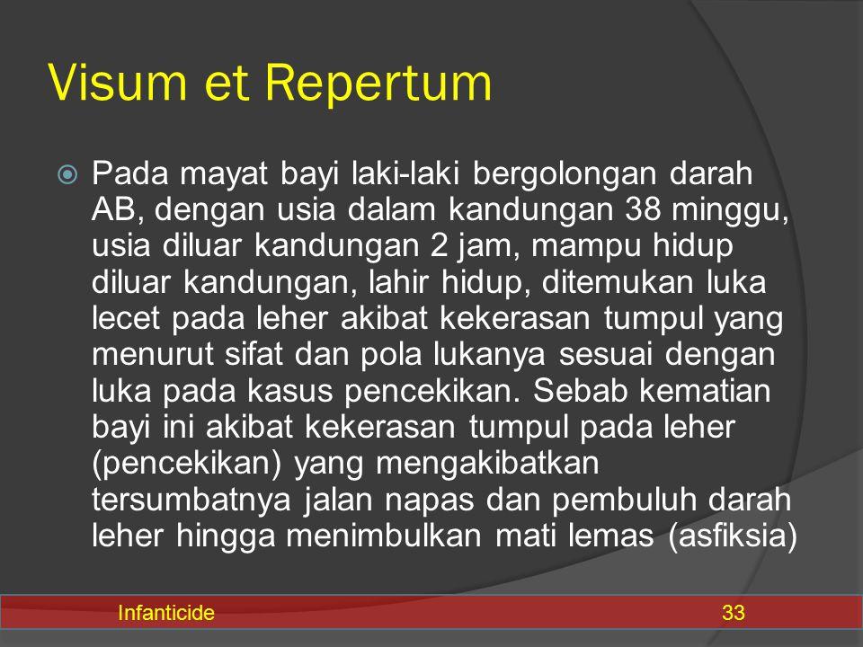 Visum et Repertum  Pada mayat bayi laki-laki bergolongan darah AB, dengan usia dalam kandungan 38 minggu, usia diluar kandungan 2 jam, mampu hidup di