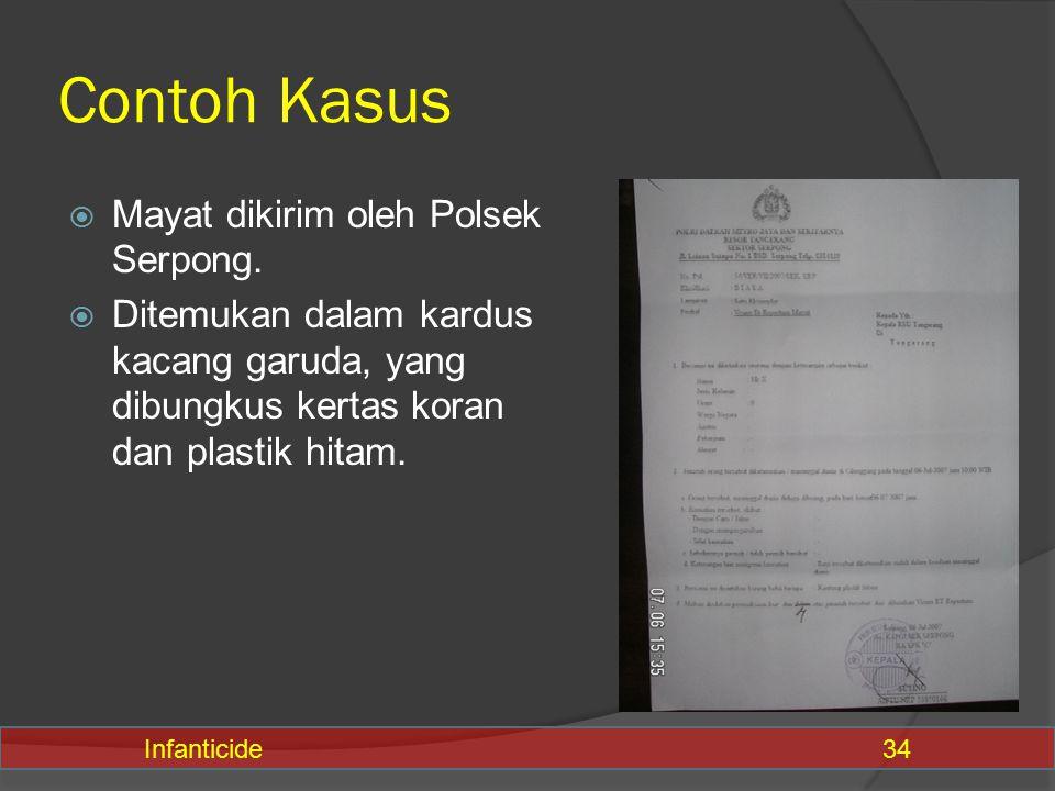 Contoh Kasus  Mayat dikirim oleh Polsek Serpong.  Ditemukan dalam kardus kacang garuda, yang dibungkus kertas koran dan plastik hitam. Infanticide34