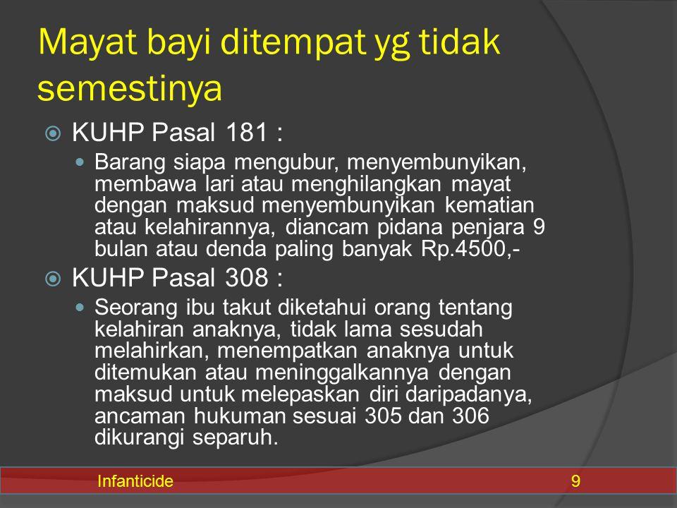  KUHP Pasal 181 : Barang siapa mengubur, menyembunyikan, membawa lari atau menghilangkan mayat dengan maksud menyembunyikan kematian atau kelahiranny